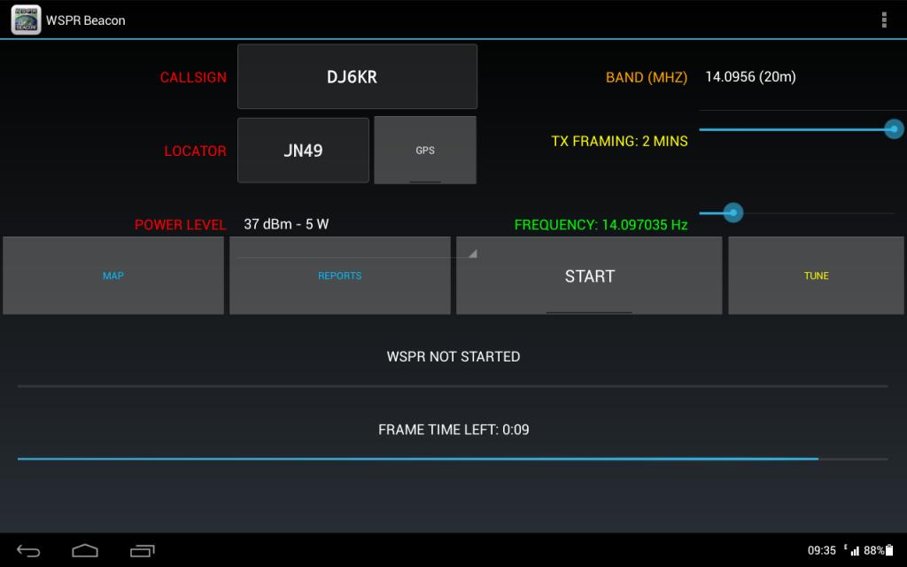 Der Hauptbildschirm der WSPRBeacon App