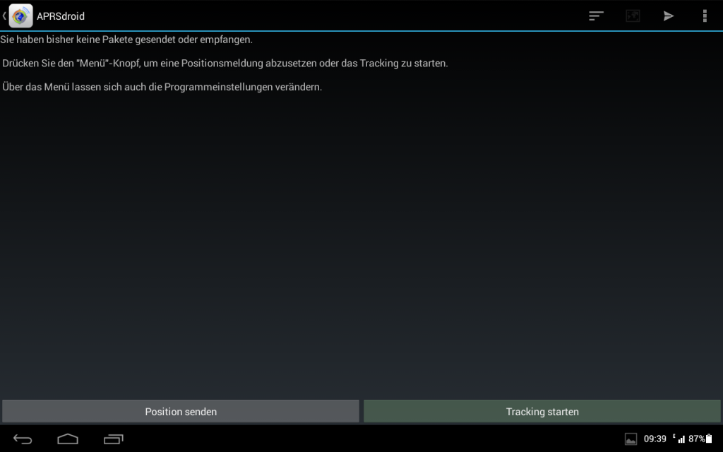 Der Hauptbildschirm der APRSDroid App