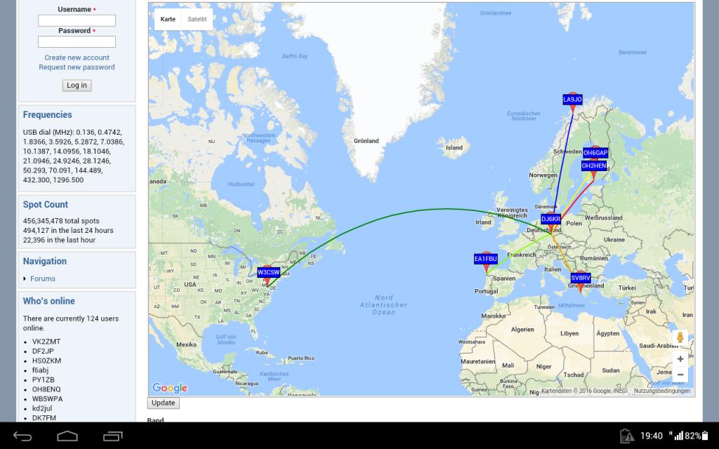 Kartendarstellung auf WSPRnet.org
