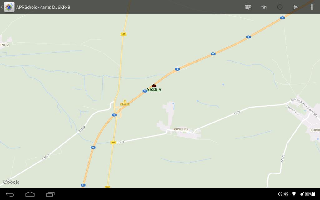Die Kartenansicht der APRSDroid App
